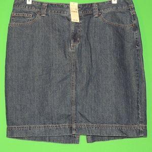 Eddie Bauer Womens 12 Regular Denim Skirt NEW